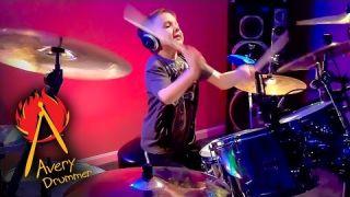 """""""Hot For Teacher"""" Avery Molek, 6 year old Drummer"""